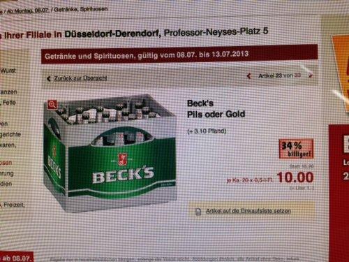 Becks - Kaufland - 20 x 0,5l für 10 € + Pfand