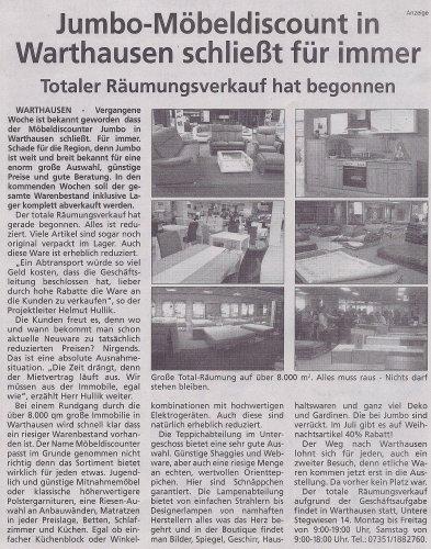 [LOKAL 88447 Warthausen] JUMBO-Möbeldiscount Räumungsverkauf (!)
