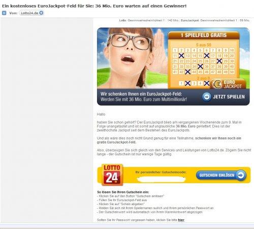 Lotto24.de  verschenkt 1 Lottofeld für die EuroJackpot, für Mitglieder