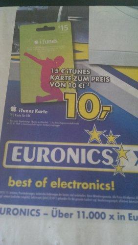 EURONICS XXL iTunes Karten für 10 Euro anstatt 15 Euro Ersparnis ca. 33,3 % :-D