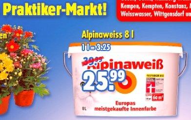 Alpinaweiß 8 Liter (mit Katze) für ca 21,00 € anstatt 39,99 €