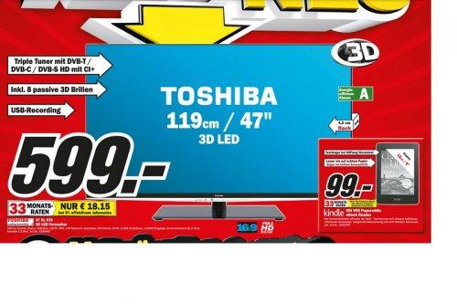 [MM München Solln]  Toshiba 47XL975G - 119 cm ( 47Zoll ) 3D LED-TV - HbbTV - Triple-Tuner  inkl. 8 3d Brillen  599€  Preisvergleich 777€