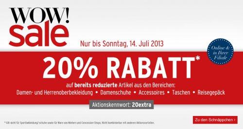 20% Rabatt  - Sale bei Karstadt online bis Sonntag 14.07. + 6% - 10% Qipu Cashback