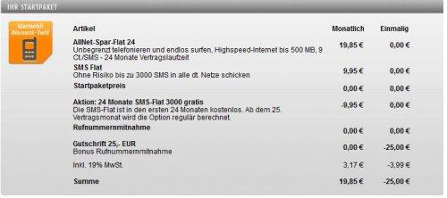 Klarmobil Allnet-Spar-Flat inkl. 3000 SMS, 500 MB im D1 Netz I 24 x 19,85 €