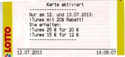 (Lotto NRW) - iTunes Guthabenkarte (€ 15,00 & € 25,00) mit 20%