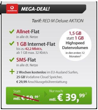HTC One, Samsung Galaxy S4, IPhone 5, Sony Xperia , : Vodafone RED M mit 1,5 GB LTE für 39,99 € monatlich