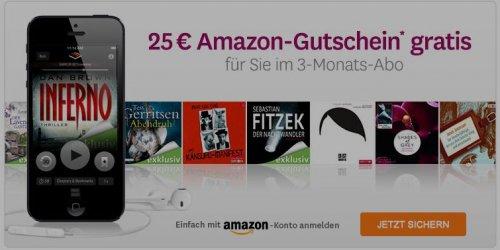 3 Monate Audible testen und 25€ Amazon Gutschein erhalten, effektiv für 5€