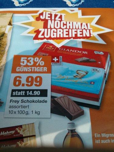 Migros - Frey Schokolade 10x100g Packfür 6,99€ - 53% Günstiger [Offline]