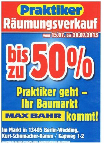 [LOKAL BERLIN] Praktiker Räumungsverkauf bis zu 50% auf ALLES !!!!!