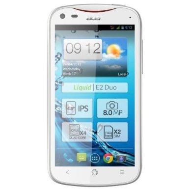 Acer Liquid E2 Duo * Jelly Bean 4.2 * Quad-Core 4x 1.2GHz Cortex-A7 * 1GB RAM * DUAL-SIM * weiß