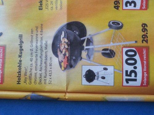 "Holzkohle - Kugelgrill ""Key West"" bei Famila [Nord-Westdeutschland] für 15€, idealo: 31,98€"