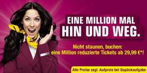 Germanwings: 1.000.000 Tickets ab 29,99 € inkl. Steuern