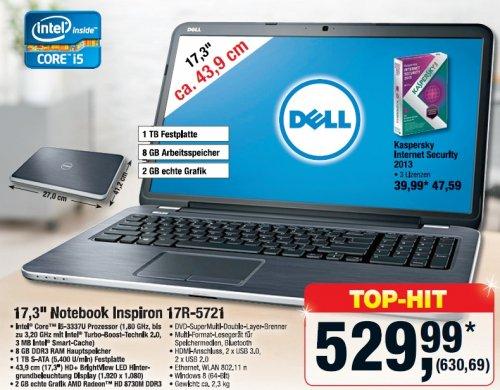 "[Lokal] Metro ""Dell Notebook Inspiron 17R-5721"" FullHD Display, 8GB, 1TB HDD"