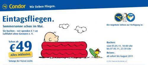 Condor Fliegenpreise, ab 49€ all inkl. (pro Strecke)