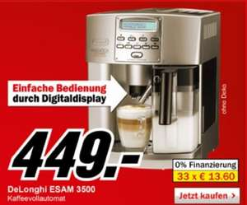 DE-LONGHI Magnifica ESAM 3500 champagnersilber bei MediaMarkt