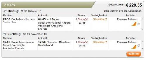 Von München nach Dubai für unter 230 € pro Person für Hin-und Rückflug....