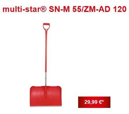 Wolf Garten SN-M 55 / ZM-AD 120 Kunststoff-Schneeschaufel 55 cm Breite inkl. Aluminium-Stiel mit D-Griff