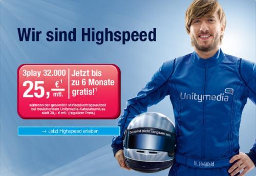 Unitymedia 3Play 32.000 nur 15,33 EUR/Monat (15 Monate Mindeslaufzeit) für Neukunden