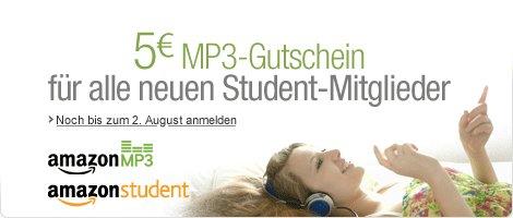 5€ MP3 Gutschein für Amazon Student Neu Mitglieder