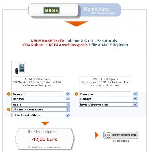 Apple iPhone 5 64GB mit BASE pur Duo Vertrag für 23,50 € monatlich (mit ADAC) - Gesamtpreis: 612 €