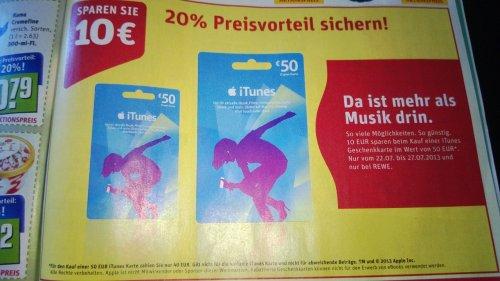 REWE: Apple iTunes GeschenkGuthaben-Karte 20% günstiger