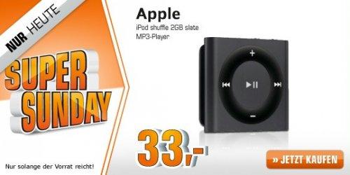 [Saturn Super Sunday]  APPLE iPod shuffle 2GB slate ab 33€
