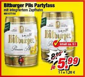 Bitburger Pils Partyfass 5l @Poco