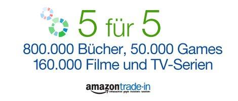 """Amazon Trade-In """"5 für 5"""": 5 € Amazon-Gutschein bei Eintausch im Wert von 5 €"""
