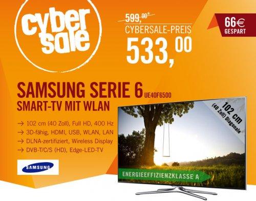 """Cybersale - Samsung SMART TV Serie 6 - 40"""", Full HD, 400 Hz, 3D, DVB- T/C/S, Edge LED-TV - Nur 533, -EUR"""