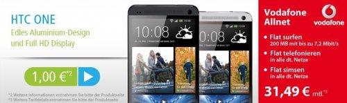 HTC One 32 GB im Vodafone Allnet Tarif - 31,49€ mtl. + einmalig 1€ Zuzahlung