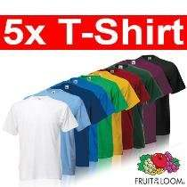 5er Pack Basic T-Shirts von Fruit of the Loom - versch. Farbsets oder in Uni für 10,99€ frei Haus