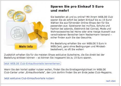 z.B. S.Oliver Sneaker für rechnerisch 0,95 € für Web.de Club Mitglieder.
