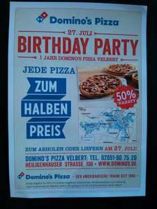 [lokal] Dominos Velbert: jede Pizza 50%, BIRTHDAY PARTY 27.07.