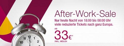 Germanwings After Work Sale One-Way-Flüge für 33 EUR inkl. Steuern und Gebühren (ab heute 18uhr)