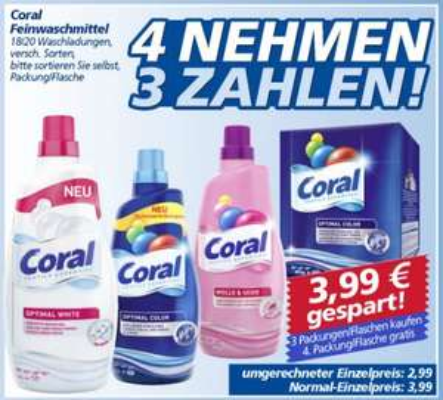 [real] 4x Coral Waschmittel -50% | 7,98€ statt 15,96€ durch 4für3 Aktion + Cashback-Aktion