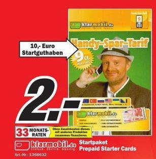 Klarmobil Prepaidkarte im D Netz mit 10 Euro Startguthaben für 2 Euro im MM Homburg