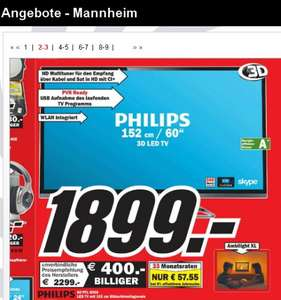 [ MM Mainz ]  Philips 60PFL6008K/12 152 cm (60 Zoll) Ambilight 3D-LED-Backlight-Fernseher, EEK A+ (Full HD, 500Hz PMR, DVB-T/C/S2, CI+, WLAN, Smart TV, HbbTV) dunkles-silber