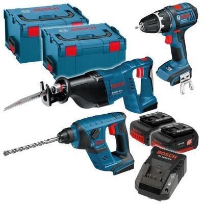 Bosch 18 V 4-Tool Kit Bau: GSR18V-Li + GBH18V-Li + GSA18V-Li + GLIVariLED für 479,- EUR