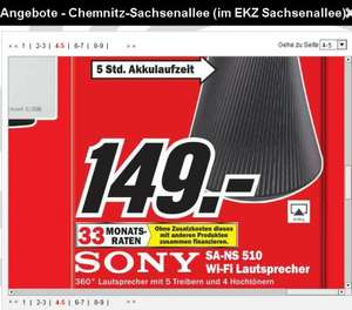 [MM Chemnitz ]  Sony SA-NS510 360-Grad-Netzwerklautsprecher (DLNA, Apple AirPlay)