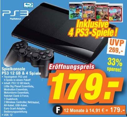 Playstation 3 12GB Superslim mit 4 Spielen + 1 DualShock 3 Wireless Controller für 179 Euro im Expert Düsseldorf
