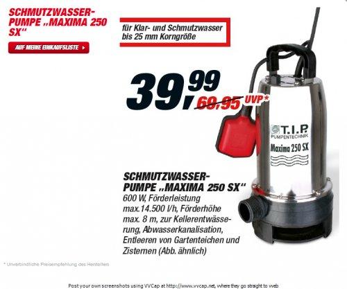 [offline] T.I.P. Schmutzwasserpumpe Maxima 250 SX bei Toom