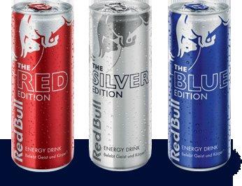 Gratis drei Dosen Red Bull Editions Silber, Rot und Blau - Österreich
