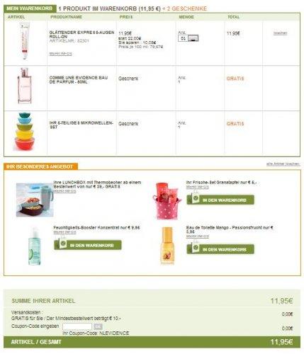 Yves Rocher, für 10 € Produkte kaufen, gratis Parfüm Comme une Evidence Eau de Parfüm, versandkostenfrei