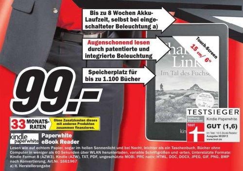 [LOKAL: Media Markt Heilbronn] Kindle Paperwhite für 99 EUR