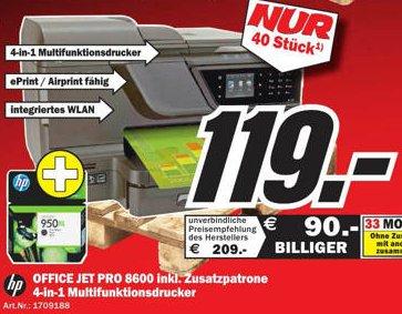 [MM Ludwigshafen] HP Office Jet Pro 8600 + HP 950 XL Patrone nur 119€ | nur 40 Stück vorhanden | 28,5% unter Idealo | mit Trade-In sogar nur 69€!