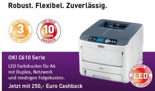 250,- € Cashback für Oki Laserdrucker bis 50% ersparnis