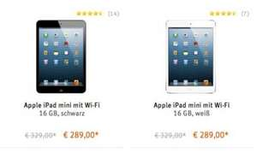 iPad mini 16 GB Wifi für 289 € statt 329 €