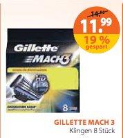 [Müller] 8 x Gillette Mach3 Rasierklingen für 11,99€