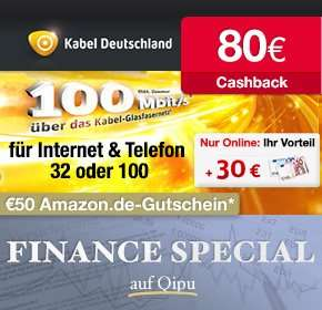 KD Internet & Telefon 32 & 100 Mbit/s 80€ Qipu + 50€ Amazon + 30 € Gutschrift