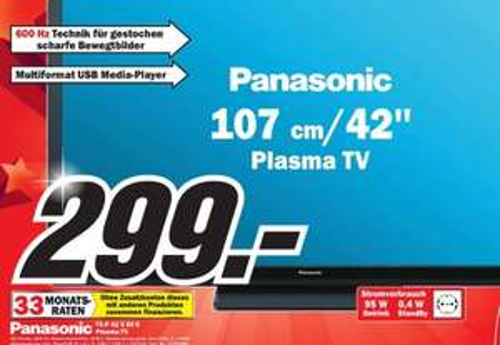 [ MM Paderborn]  Panasonic TX-P42X60E 107 cm (42 Zoll) Plasma-Fernseher, EEK B (HD-Ready, 600Hz SFD, DVB-T/C, VIERA Link, HDMI)